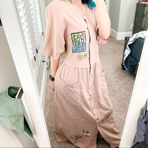 Vintage Dusty Pink Maxi Dress